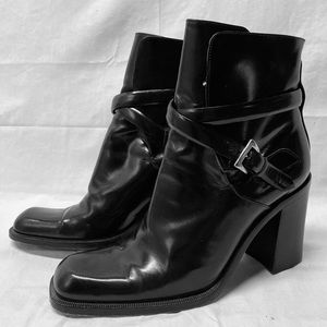 Via Spiga Patent Leather Ankle Boots